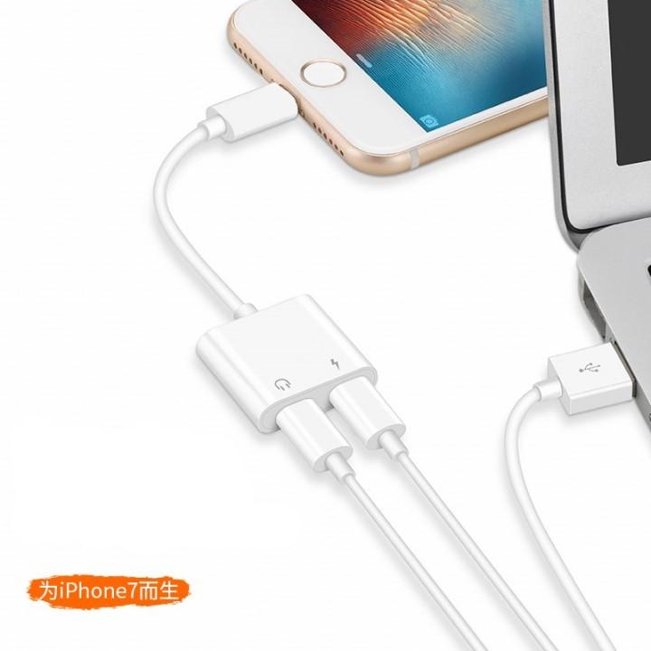 Jack Chuyển Tai Nghe iPhone 7Plus 2 cổng Lightning