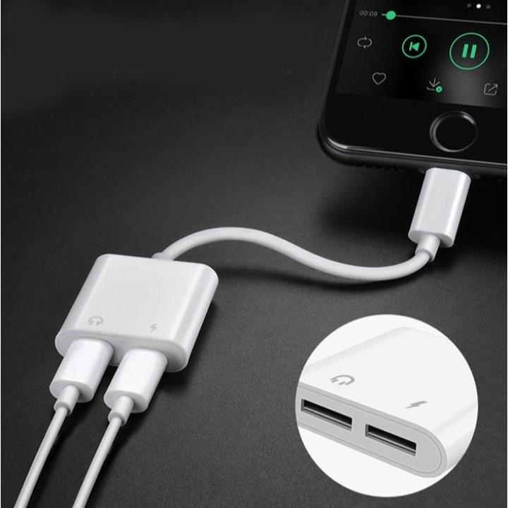 Jack Chuyển Tai Nghe iPhone 7Plus 2 cổng Lightning vừa sạc vừa nghe nhạc